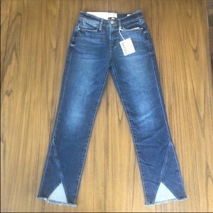 Frame denim high rise straight leg ankle jeans